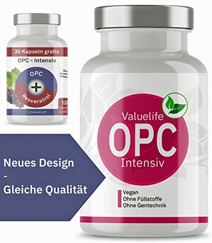 OPC Kapseln Intensiv: Traubenkernextrakt & Resveratrol - laborgeprüft & hochdosiert - Antioxidantien Komplex ohne Zusatzstoffe. 120 vegane Kapseln von VALUELIFE