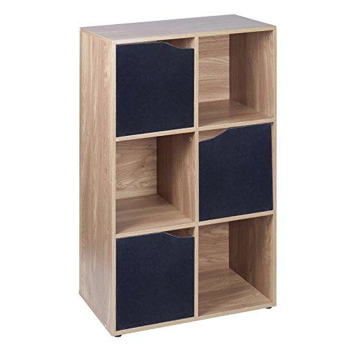 URBN LIVING  Libreria in Legno Effetto Quercia modulare scaffalature scaffale mobiletto, Legno, Black Doors, 6 Cube Unit