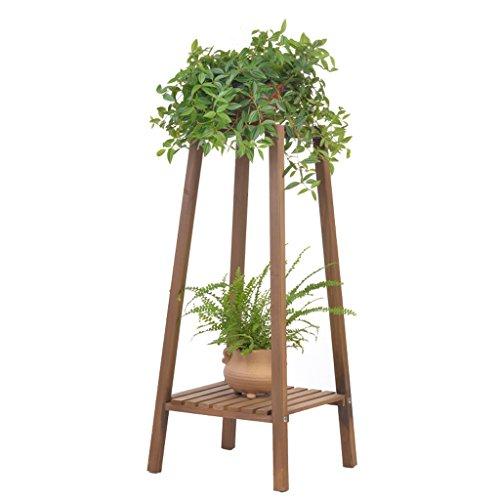 YXLAB Blumenständer Holz Pflanze Blume Ausstellungsstand Holz Topf Regal Rack Outdoor Indoor Balkon Single 2 Töpfe Halter 33 * 33 * 75 cm