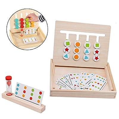 TATAFUN Juego de Madera Montessori Clasificación con Tarjetas de Patrón y Disco de Color, Juguete de Rompecabezas de Madera para Niños de TATAFUN