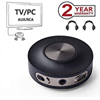 Avantree Transmetteur Bluetooth 4.2 Emetteur pour TV (PAS OPTIQUE), Dual link aptX LOW LATENCY Supporté, 3.5mm Adaptateur Audio Sans Fil pour Casques audio, No Batterie - PRIVA III [2 ans de Garantie]