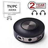 Avantree Priva III Trasmettitore Bluetooth per TV, PC (RCA, AUX 3.5mm, No Ottica) Adattatore Audio Wireless, Dual Link per Cuffie, aptX a Bassa LATENZA