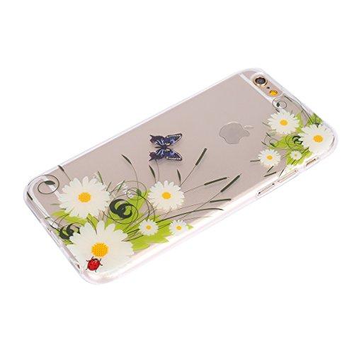 Hülle für iPhone 6 6S, Case Cover für iPhone 6 6S [Scratch-Resistant] , ISAKEN Ultra Slim Perfect Fit Malerei Muster TPU Silikon Clear Transparent Protective Rückseite Back Hülle Hüllen Beschützer Hau Blumen Schmetterling