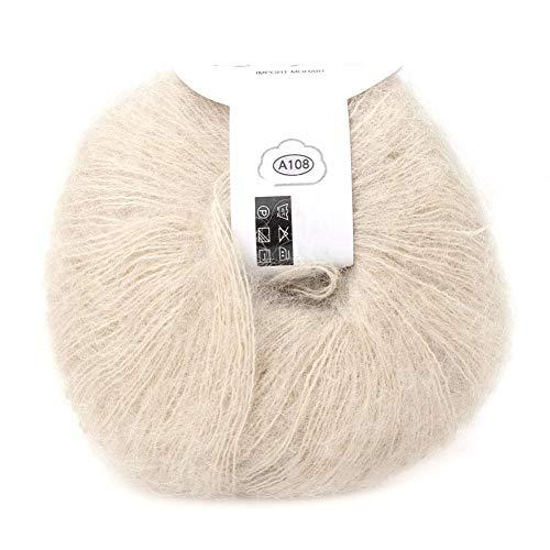 Morbido mohair cashmere lana per maglieria filato leggero maglieria a mano filato fai da te scialle sciarpa uncinetto filo con un crochet(beige)