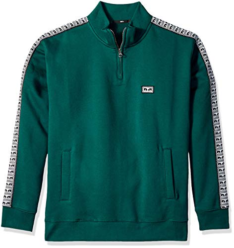 Obey Herren Bridges Mock Neck Zip Fleece Sweatshirt, Dunkles Türkis, Mittel - Mock Neck Sweater