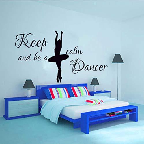 Dwqlx Bleib Ruhig Und Sei Ein Tänzer Wandaufkleber Tänzer Wohnkultur Ballerina Silhouette Wandtattoo Raumdekoration Für Mädchen 74 * 43 (Machen Halloween Fenster Silhouetten)