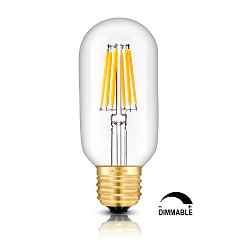 TAMAYKIM T45 6W Dimmable Edison Style Antique LED Filament Tubular Light Bulb, 5000K Daylight (Bright White) 650LM, E27 Base Lamp Tubular Unique Designer, 65W Incandescent Equivalent, 3 Pack