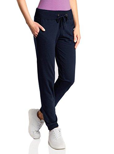 oodji Ultra Femme Pantalon de Sport en Maille Imprimée Bleu (7910P)