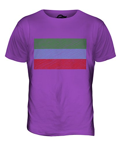 CandyMix Dagestan Bandiera Scarabocchio T-Shirt da Uomo Maglietta Viola