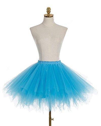 Dresstells Damen Tutu Unterkleid Kurz Ballett Tanzkleid Ballklei Abendkleid Gelegenheit Zubehör Blue