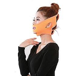 WXDXR Masque du Visage Sculptant Serré Elastique Lifting Minceur Anti Rides V Ligne Ceinture de Perte de Poids Mince en Tissu de plongée avancé Masque Facial Amincissant Bandages,Orange