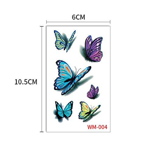 Etiqueta engomada tatuaje mariposa Herida negra Azul