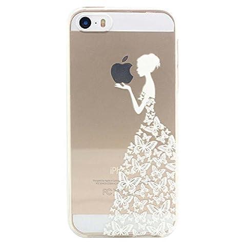 JIAXIUFEN Neue Modelle TPU Silikon Schutz Handy Hülle Case Tasche Etui Bumper für Apple iPhone 5 5S SE - Henna Series Apple Butterfly Girl