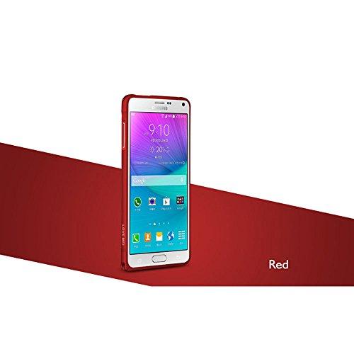 Aluminium Metall Bumper Rahmen für Samsung Galaxy Note 4N9100, Love Mei Ultrathin Case Schutzhülle Cover rot