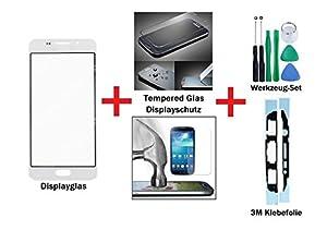 iTech Germany PREMIUM Displayglas Reparatur-Set für Samsung Galaxy A3 (2016) Weiss - Oleophobic Front Display Glas für Modell SM-A310F + Tempered Glass Displayschutz, Werkzeug-Set und 3M Klebefolie