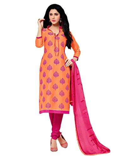 Applecreation Orange Chanderi Salwar Kameez