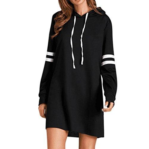 Damen Kleider,DOLDOA Lange Ärmel Hoodie lange Sweatshirt Pullover Kleid Oberteile (EU: 50, Schwarz - Knielang Kleid,Lange Ärme Hoodie)