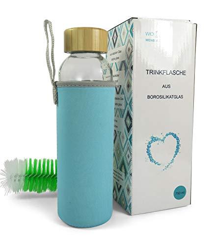 Wenburg Trinkflasche/Glasflasche mit Bambus-Deckel Wolton 0,75l Neopren Hülle. Sportflasche/Wasserflasche aus Glas. Für Unterwegs (türkis, 0,55l) 0,75 L Glas