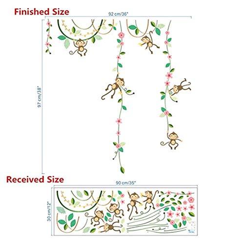 Garten Affen Höhe Maßnahme Wandaufkleber Für Kinderzimmer Schmetterling Zaun Blume Messlatte 3D Kinderzimmer Dekor Poster