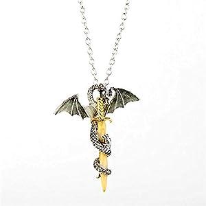 Joyería Luminosa Dragón Espada Collar Colgante Juego De Trono Cuello Encaje Resplandor En La Oscuridad Anime Collar para… 8