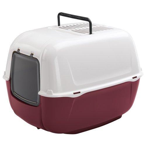 Box Toilette per Gatti Prima Chiusa, Toilette per Gatti, Plastica Resistente, Fondo Contenitivo, Porta Basculante Oscurata e Manico, Include Due Filtri Al Carbone Attivo, 52,5 X 39,5 X 38 cm Bordeaux