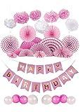 Wolke Happy Birthday Girlande Set in Rosa und Weiß - Geburtstagsdekoration, Party und Feier Dekoration mit 6 Papierfächer, 4 Pompons und Geburtstag Latex Luftballons by Aphrodites (Pink)