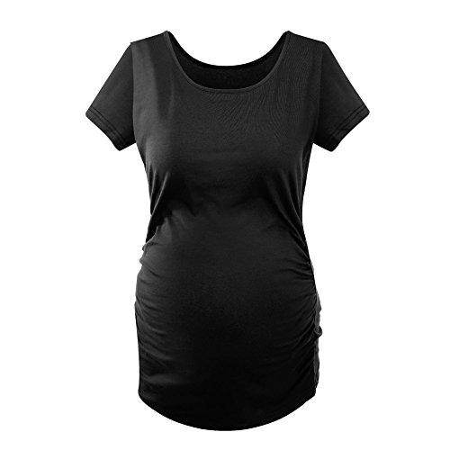 Schwangeres Frauensommer T-Shirt Einfarbige Baumwolle Hohe Elastizität Rundhalsausschnitt Kurzarm Schwarz/M
