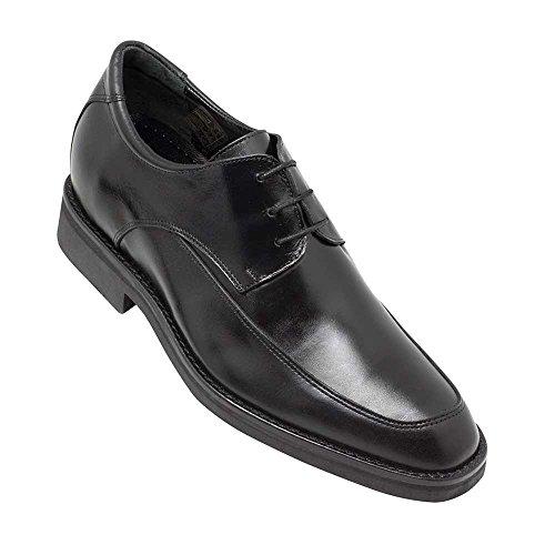 Masaltos scarpe con rialzo da uomo che aumentano l'altezza fino a 7 cm. fabbricate in pelle. modello roma nero 45
