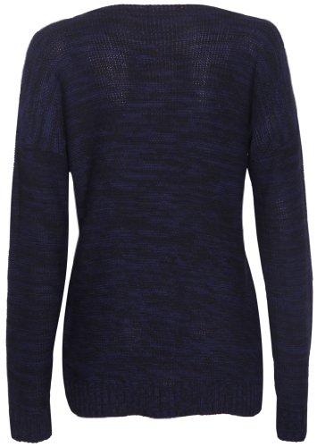 À Manches Longues Pour Femmes Lapin Lunettes Impressions Femme Rond Encolure Ronde Tricot Extensible Pull-over Haut Pull Bleu marine & noir