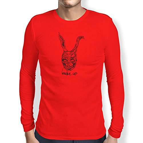 NERDO Wake up - Herren Langarm T-Shirt, Größe S, rot
