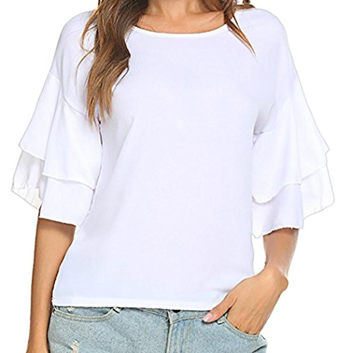 DEELIN Blusen Damen Sommer Solid Ruffles Half Sleeve Butterfly Sleeve Tops Pullover T-Shirt Blouse (EU-44/CN-2XL, Weiß)