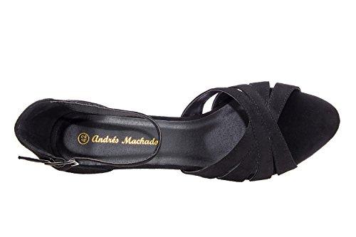 Andres Machado.AM5073.Sandales Bracelet Suédine.Pour Femmes.Petites Pointures 32/35 et Grandes Pointures 42/45. Noir
