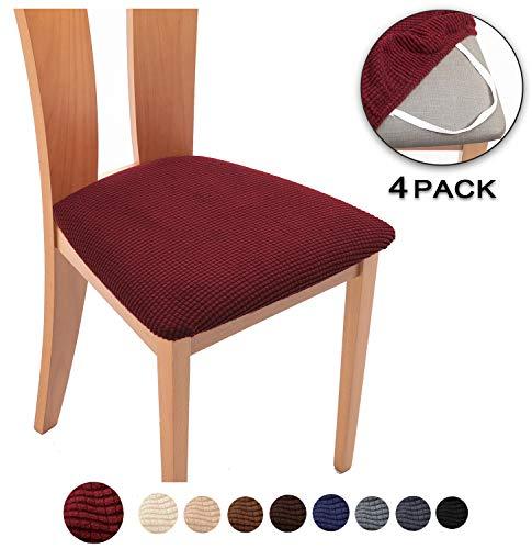 Tianshu coprisedili per sedia 4 pezzi set,home coprisedia cuscino coprisedile furniture protector,jacquard cuscino seduta sedia da pranzo protezioni chair slipcovers(4 pezzi set,bordeaux)