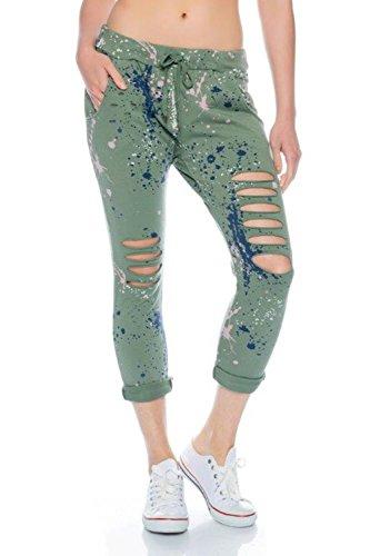 Fashionflash Damen knöchellange Hose zerissen (one Size, grün)