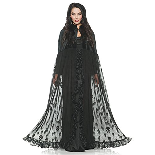 Underwraps Black Velvet Mesh Gothic Vampire Witch Skull Cape One (Black Velvet Kostüme Hexe)