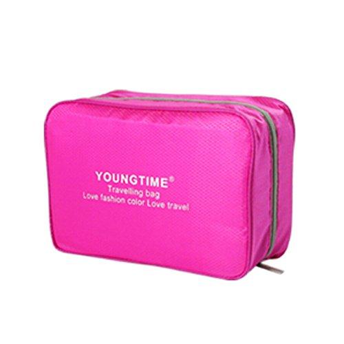 Unisexe maquillage cosmétique sac étanche Voyage Organisateur bagages,rouge C