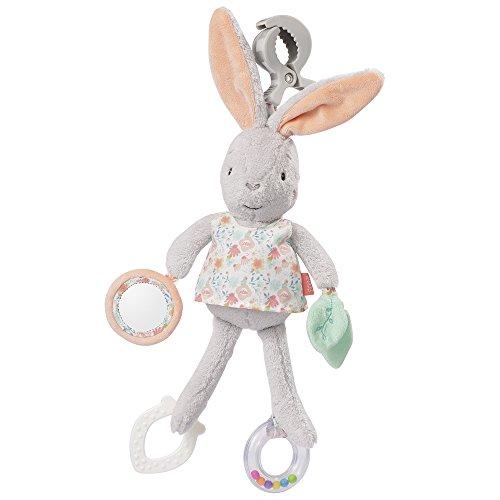 Fehn 062083 Activity-Spieltier Hase | Motorikspielzeug zum Aufhängen mit Spiegel & Ringen zum Beißen, Greifen und Geräusche erzeugen | Für Babys und Kleinkinder ab 0+ Monaten