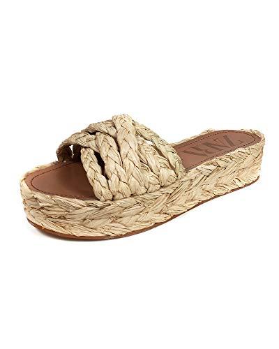 Zara Femme Chaussures à Talons compensés et Plateforme en Raphia Naturel 2360/001 (39 EU)