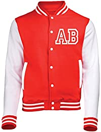 VARSITY JACKET WITH FRONT INITIAL PERSONALISATION ( MEDIUM - Fire Red / White ) NEW PREMIUM Unisex American Style Letterman College Baseball Custom Top Mens Womens Ladies Gift Present Quality AWD Sou