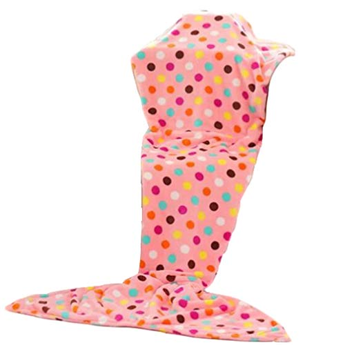 Wetry Coperta Lana Leggera,Coperta Sirena Donna Bambina Coda Sirena Adulto Sacco a Pelo Invernale Soffice e Calda 4 Stagioni Compatto Divano Trapunta/Bambini/130 * 70CM
