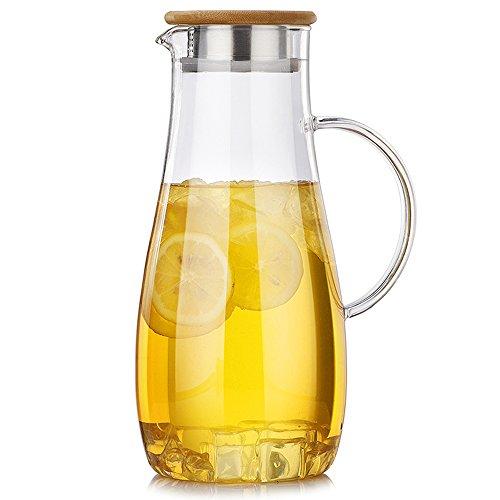 TAMUME 1.8L Wasserkrug Mit Bambusdeckel von zwei - Krug Versiegelt Glas