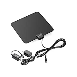 ViewTV Flat HD Digital Indoor Amplified TV Antenna - 40 Miles Range - Detachable Amplifier Signal Booster - 12ft Coax Cable - Black