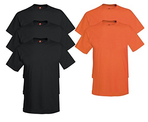 Hanes Comfort Soft Crew Neck 5 Pack Tee (Pack of 5) 3 Black / 2 Orange