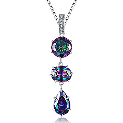 Aurora Tears Sterling Silver Rainbow Topaz 15.42ct Pear Drop Pendant Necklace with 8.86