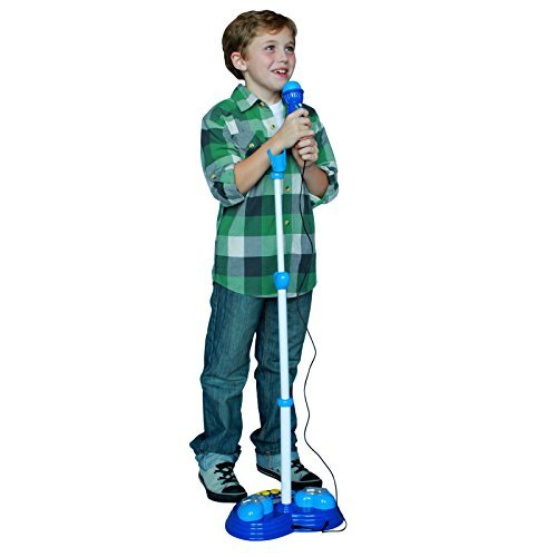KidPlay Products Interactive Kids Singing Music Machine Rainbow Flashing Lights and Sound - Blue