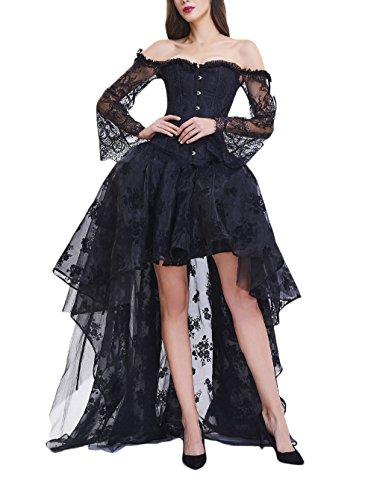 Vestido negro vaporoso con ramilletes