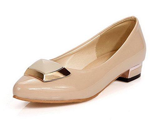 AgooLar Damen Rein Lackleder Niedriger Absatz Ziehen Auf Spitz Zehe Pumps Schuhe Aprikosen Farbe