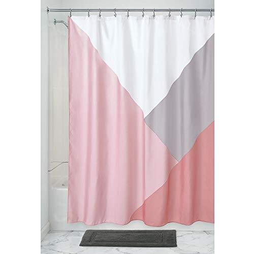iDesign Colorblock Duschvorhang, großer Badewannenvorhang aus Polyester, rosa, 183 cm x 183 cm