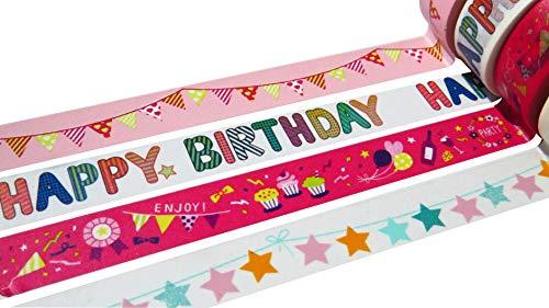 Washi Tape Sets 15mm x 10Meter Rollen, dekorative Maskierung Tapes Auswahl an Designs und Farben Celebration