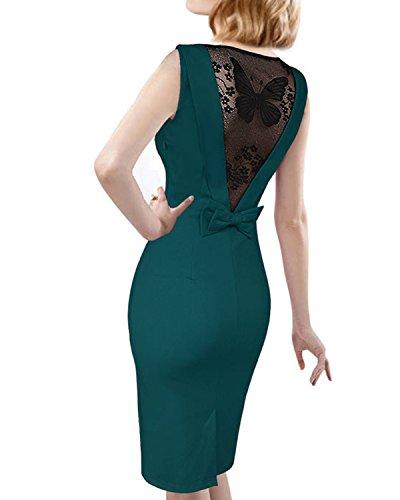 Minetom Femmes Vintage Col Rond Robe Creux de Dentelle Slim Sans Manches De Robe Sexy Dress de Soirée Pencil Bodycon Party Cocktail Vert